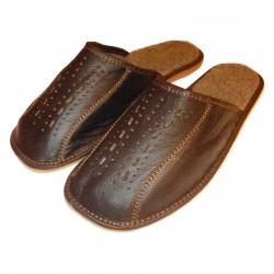 Zimowe, męskie pantofle skórzane , kapcie, laczki, klapki