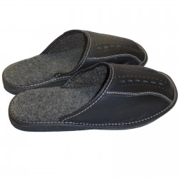 Męskie pantofle skórzane, ciepłe.